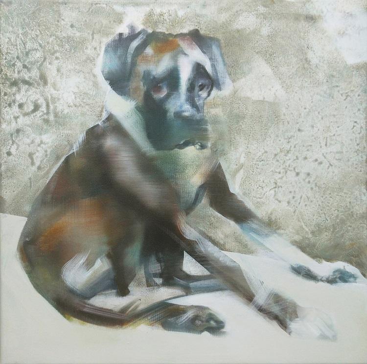 'Boxer hond' 50x50 cm Acrylverf op doek Verkocht