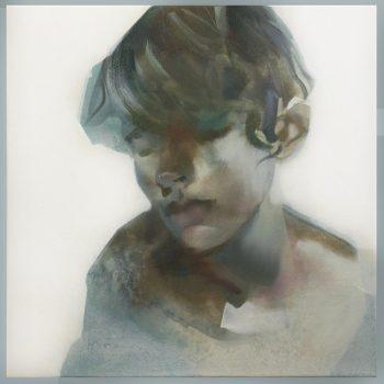 'Portret van een jongen' - 50x50cm - acrylverf op doek-VERKOCHT