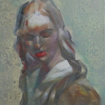 'Rode mond' 40x50 cm Acrylverf op doek