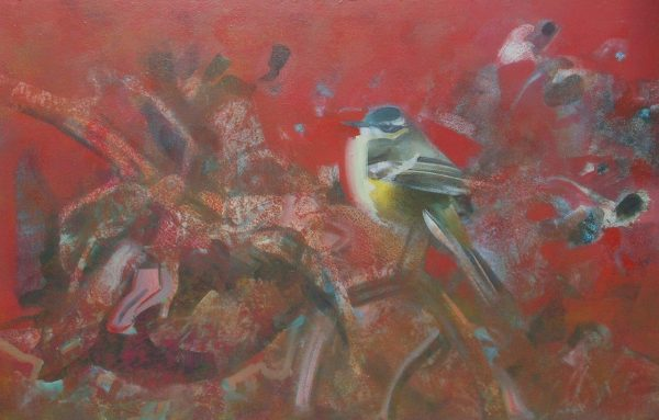 'Grey Wagtail on a faided sunflower' 40x60 cm acrylics on canvas SOLD